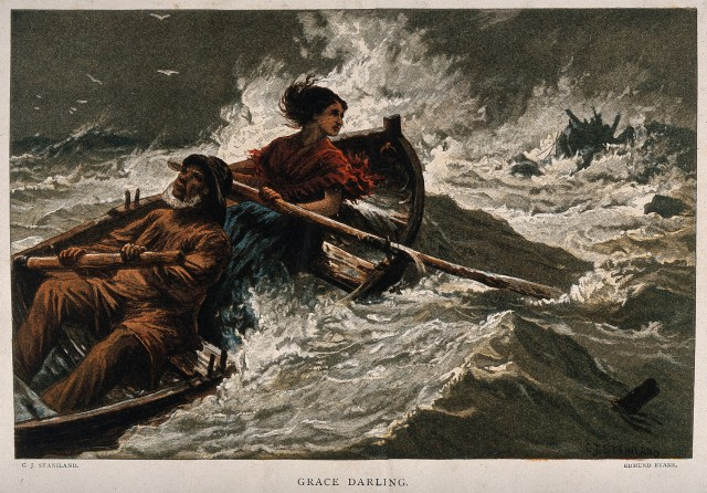 V0016540 Grace Darling rowing out to sea in a furious storm. Colour w
